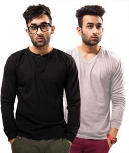 Unisopent Designs Solid Men's Henley Black, Grey T-Shirt