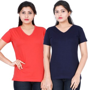 335762613e Fleximaa Solid Women s V neck Red Blue T Shirt Pack of 2 Best Price ...