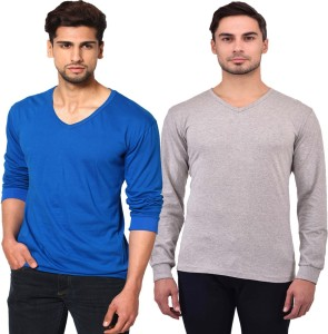 Unisopent Designs Solid Men's V-neck Blue, Grey T-Shirt