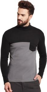 Hypernation Solid Men's Turtle Neck Grey, Black T-Shirt
