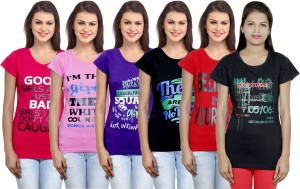 IndiStar Printed Women's Round Neck Multicolor T-Shirt