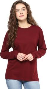Hypernation Solid Women's Round Neck Maroon T-Shirt