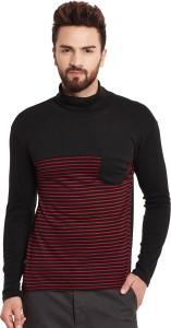 Hypernation Striped Men's Turtle Neck Black, Red T-Shirt