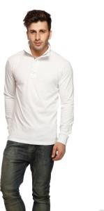 Gritstones Solid Men's Turtle Neck White T-Shirt