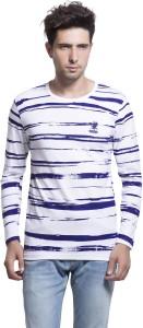1b7b51d13c8 Maniac Striped Men's Round Neck White T-Shirt