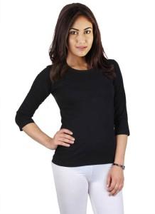 Vea Kupia Solid Women's Round Neck Black T-Shirt