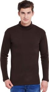Hypernation Solid Men's Turtle Neck Brown T-Shirt
