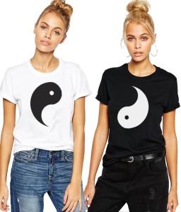 Young Trendz Printed Women's Round Neck Black T-Shirt