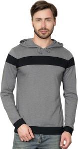 Maniac Self Design Men's Hooded Grey T-Shirt