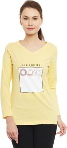 The Vanca Printed Women's V-neck Yellow T-Shirt