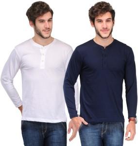 b395488fdf TSX Solid Men s Henley White Dark Blue T Shirt Pack of 2 Best Price ...