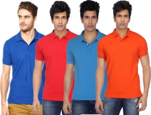 be26b20cc65a Concepts Solid Men s Polo Neck Multicolor T Shirt Pack of 4 Best ...