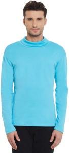Hypernation Solid Men's Turtle Neck Light Blue T-Shirt