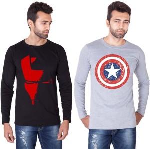 Veirdo Printed Men's Round Neck Black, Grey T-Shirt