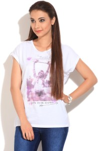 United Colors of Benetton Graphic Print Women's Round Neck White T-Shirt