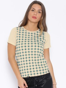 Cult Fiction Checkered Women's Round Neck Beige T-Shirt