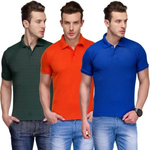 e81c0376 TSX Solid Men s Polo Neck Multicolor T Shirt Pack of 3 Best Price in ...