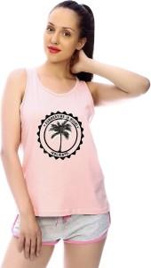 Scotmen Printed Women's Round Neck Pink T-Shirt