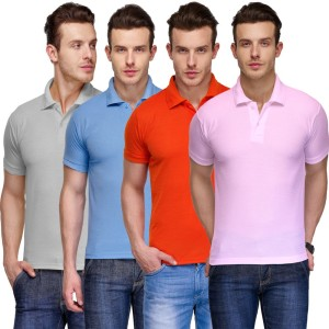 13dce4fa2592 TSX Solid Men s Polo Neck Multicolor T Shirt Pack of 4 Best Price in ...