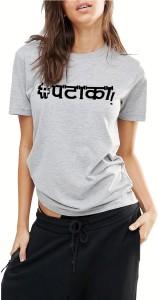 Young Trendz Printed Women's Round Neck Grey T-Shirt