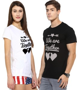Young Trendz Printed Men & Women Round Neck Multicolor T-Shirt