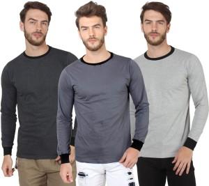 37487dcd7277 Sayitloud Solid Men s Round Neck Black Grey Grey T Shirt Pack of 3 ...