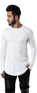 Fugazee Solid Men Round Neck White T-Shirt