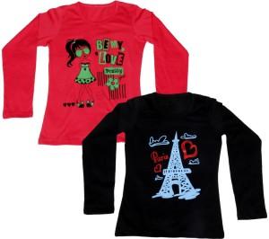 IndiWeaves Printed Women's Round Neck Red, Black T-Shirt