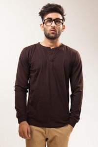 Unisopent Designs Solid Men's Henley Brown T-Shirt