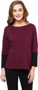 Miss Chase Solid Women's Round Neck Maroon, Black T-Shirt