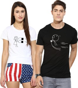 Young Trendz Printed Men & Women Round Neck Multicolor T-Shirt
