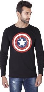 Veirdo Printed Men's Round Neck Black T-Shirt