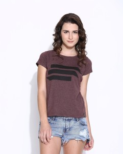 Cult Fiction Printed Women's Round Neck Brown, Black T-Shirt