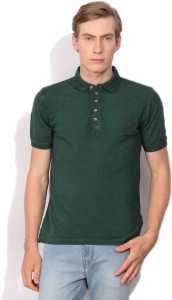 4b6e3cf91 Peter England Solid Men s Polo Neck Dark Green T Shirt Best Price in ...