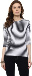 Hypernation Casual 3/4th Sleeve Striped Women's White, Black Top