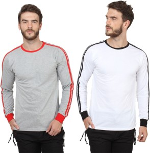 21d491166f82 Sayitloud Solid Men s Round Neck Grey White T Shirt Pack of 2 Best ...