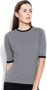 Cult Fiction Solid Women's Round Neck Grey T-Shirt