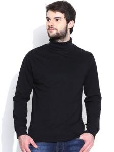 Dream of Glory Inc. Solid Men's Turtle Neck Black T-Shirt