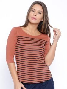 Cult Fiction Striped Women's Scoop Neck Orange T-Shirt