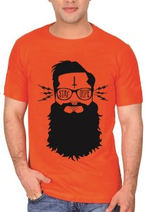 5e44d4e49 indiroots Printed Men s Round Neck Orange T Shirt Best Price in ...