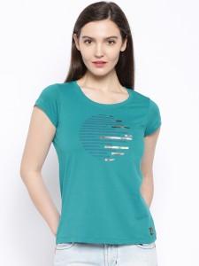 Cult Fiction Printed Women's Round Neck Blue T-Shirt