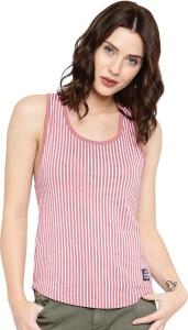 Cult Fiction Striped Women's Scoop Neck Pink T-Shirt