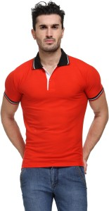 TSX Solid Men's Polo Neck Red T-Shirt