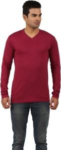 The Archer Solid Men's V-neck Maroon T-Shirt