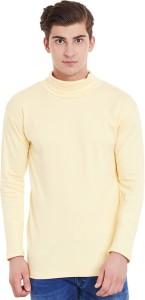 Hypernation Solid Men's Turtle Neck Yellow T-Shirt