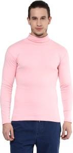 Hypernation Solid Men's Turtle Neck Pink T-Shirt