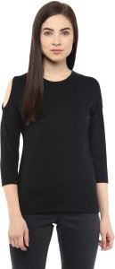 Hypernation Solid Women's Round Neck Black T-Shirt