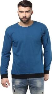 Unisopent Designs Solid Men's Round Neck Light Blue, Black T-Shirt