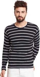 Hypernation Striped Men's Round Neck Black, White T-Shirt