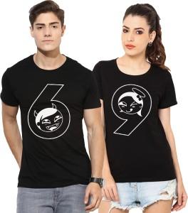 Young Trendz Printed Men & Women Round Neck Black T-Shirt